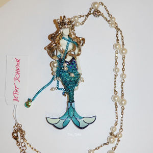 Betsey Johnson Long Mermaid Pendant Necklace